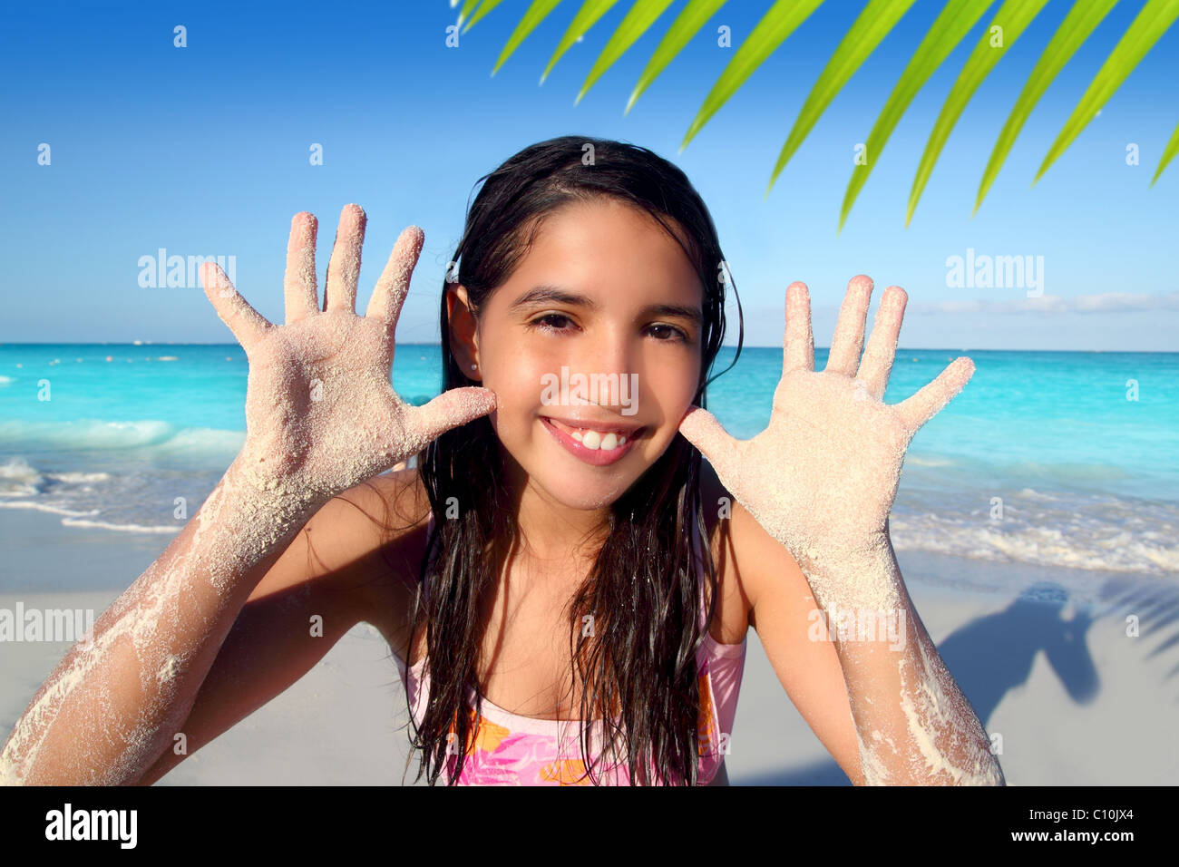 Latin Indian Teen Girl Playing Beach Showing Sandy Hands