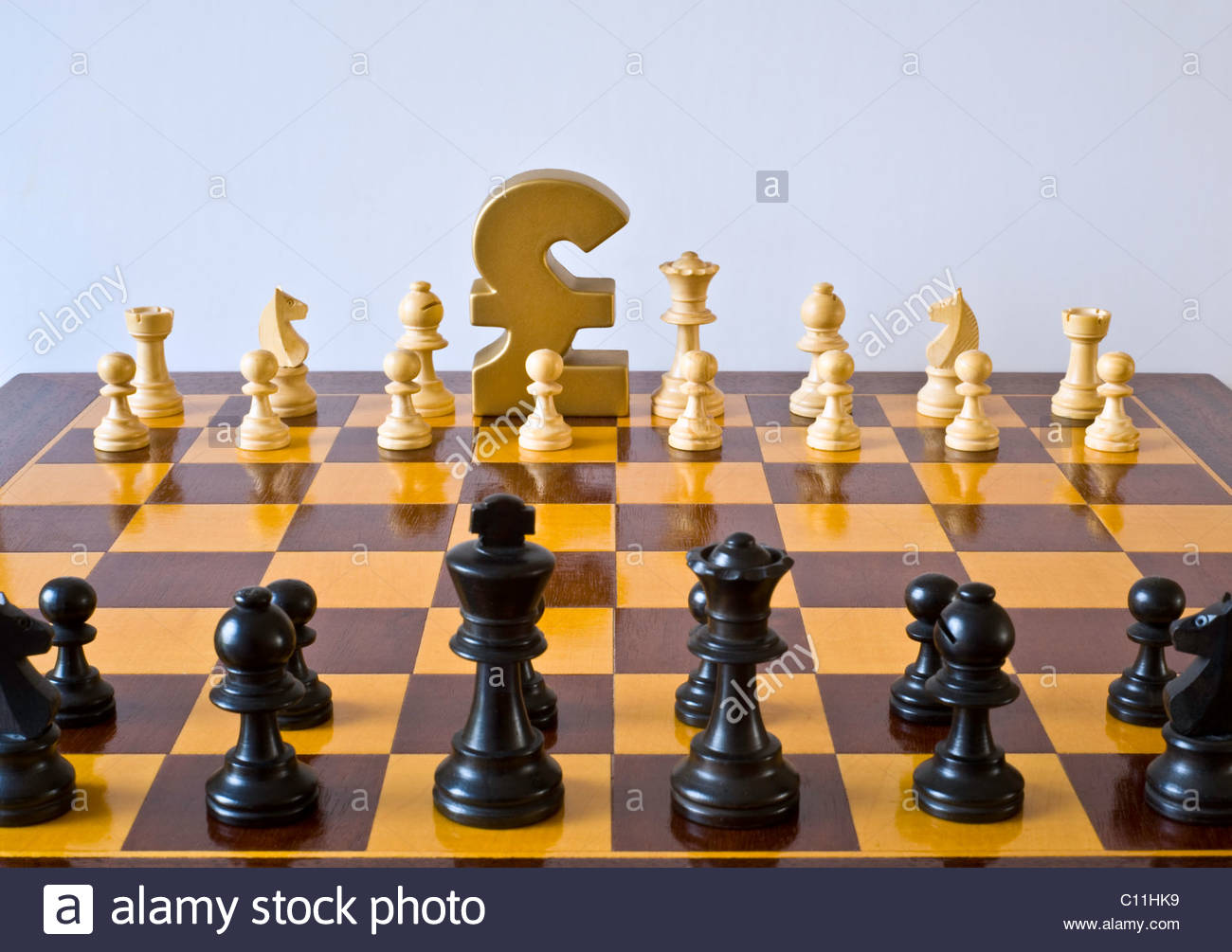 British Pound Sterling Symbol Kings Position Chess Board