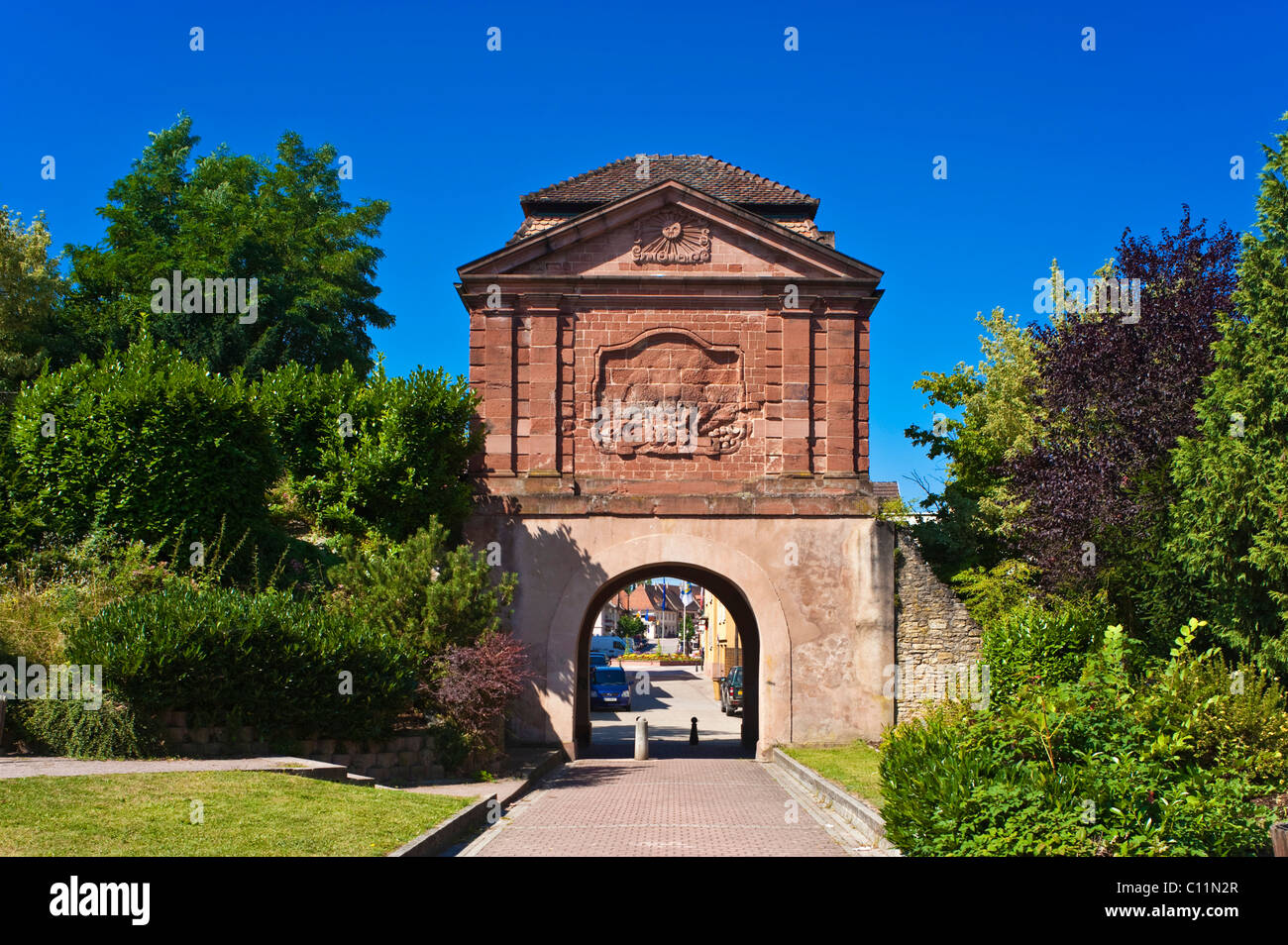 tour de bas porte de landau landauer tor gate tower with a sun stock photo royalty free image. Black Bedroom Furniture Sets. Home Design Ideas