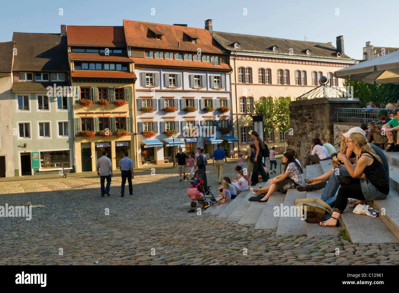 augustinerplatz square freiburg im breisgau baden wuerttemberg stock photo royalty free image. Black Bedroom Furniture Sets. Home Design Ideas