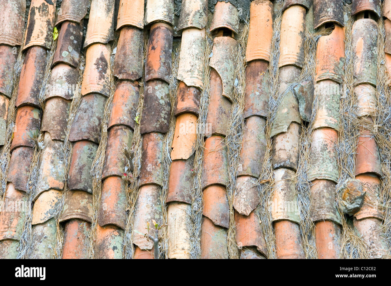 Old ceramic pottery terracotta roof tiles on rural house on la old ceramic pottery terracotta roof tiles on rural house on la gomera canary islands spain dailygadgetfo Choice Image