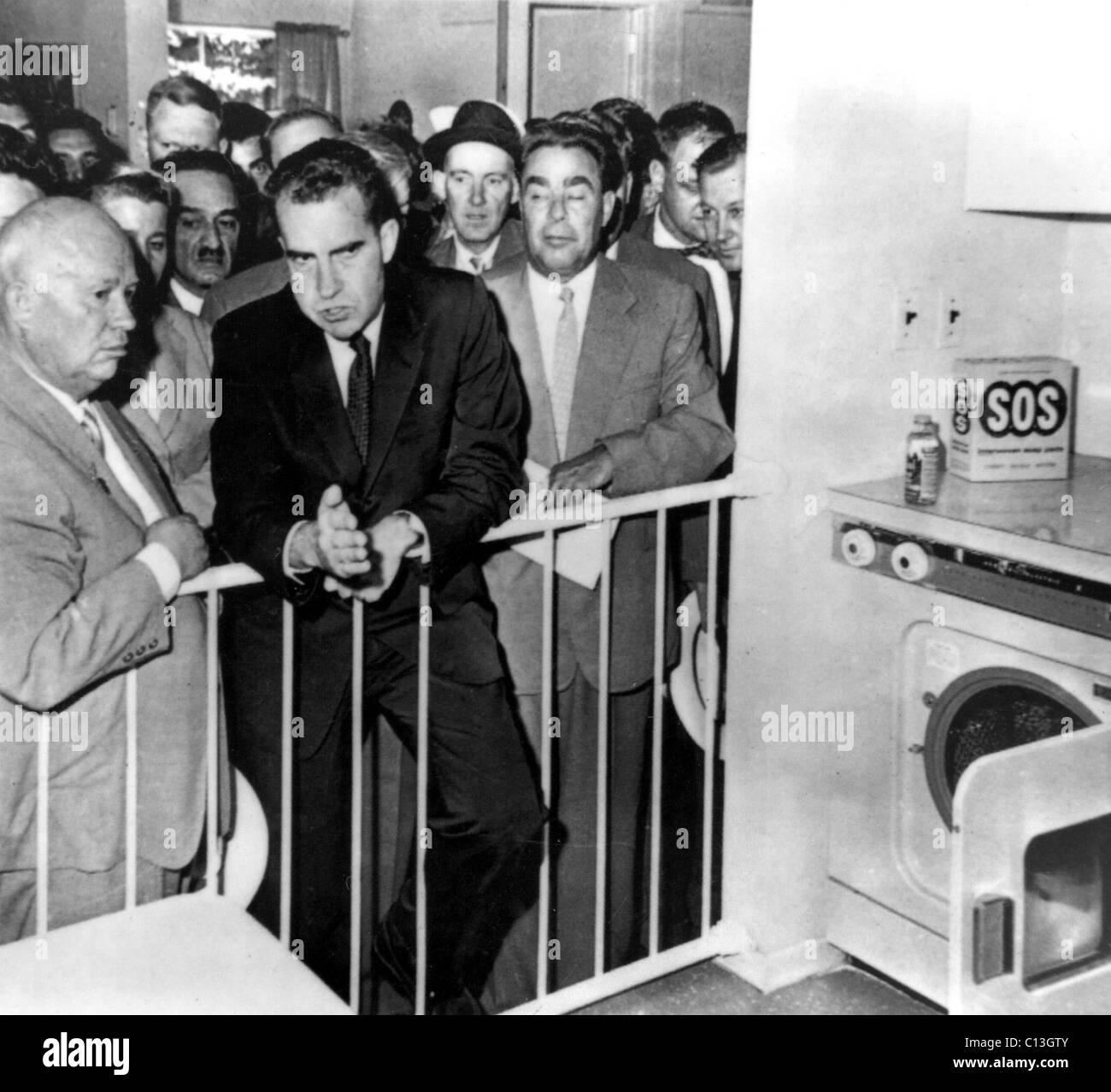 Nikita Khrushchev, Richard Nixon, Leonid Brezhnev during the ...