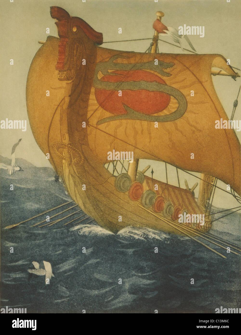 the dragon ship viking ship at sea etching by john taylor arms