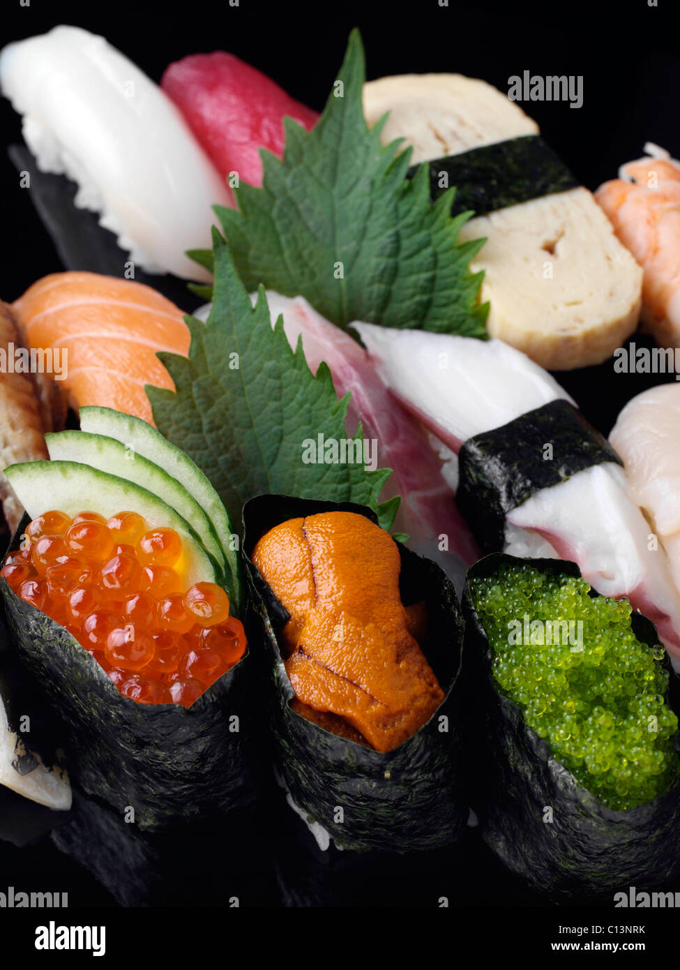 Sushi and fish eggs japanese cuisine stock photo royalty for Fish eggs on sushi
