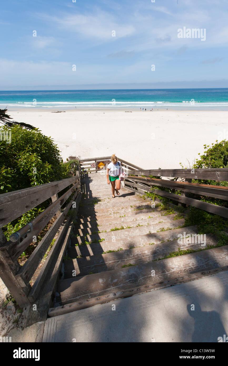 Beach At Carmel, California. Stairs Leading To Beach In Carmel Beach City  Park.