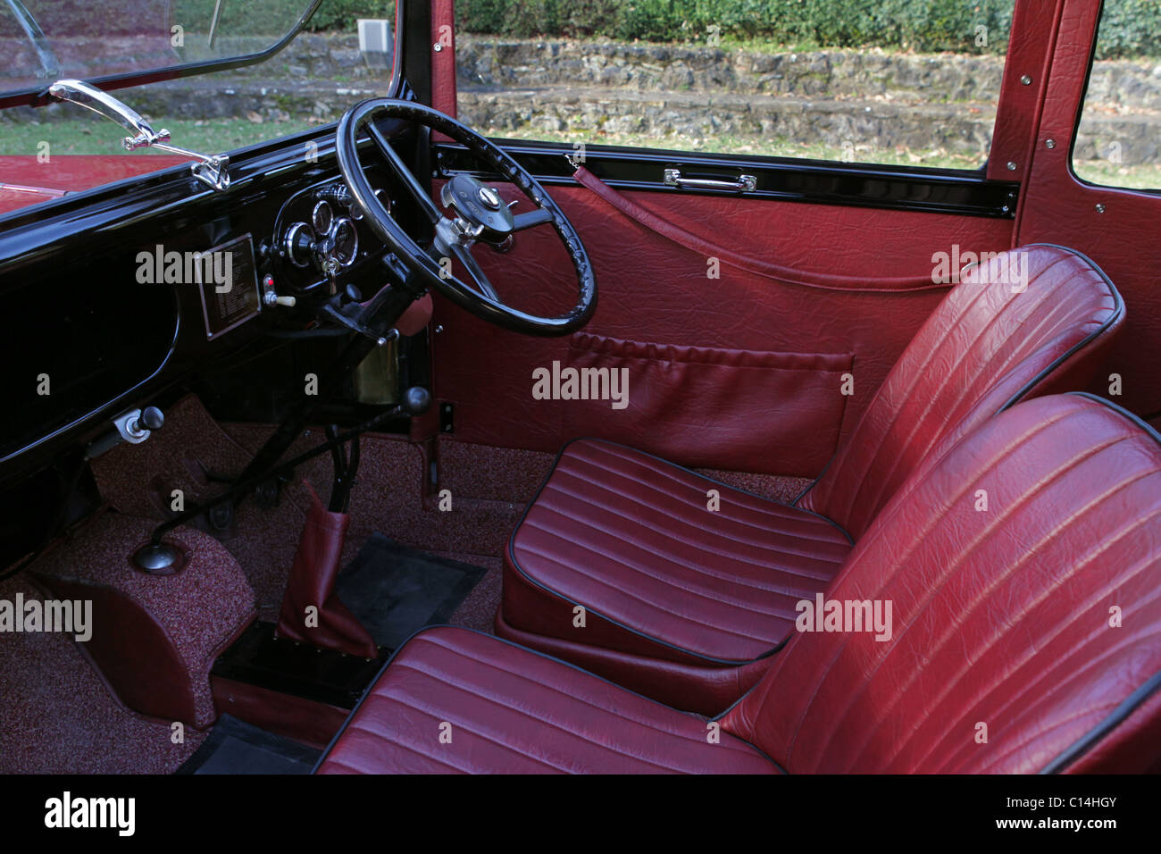 interior of vintage british classic car austin 7 stock photo 35137003 alamy. Black Bedroom Furniture Sets. Home Design Ideas