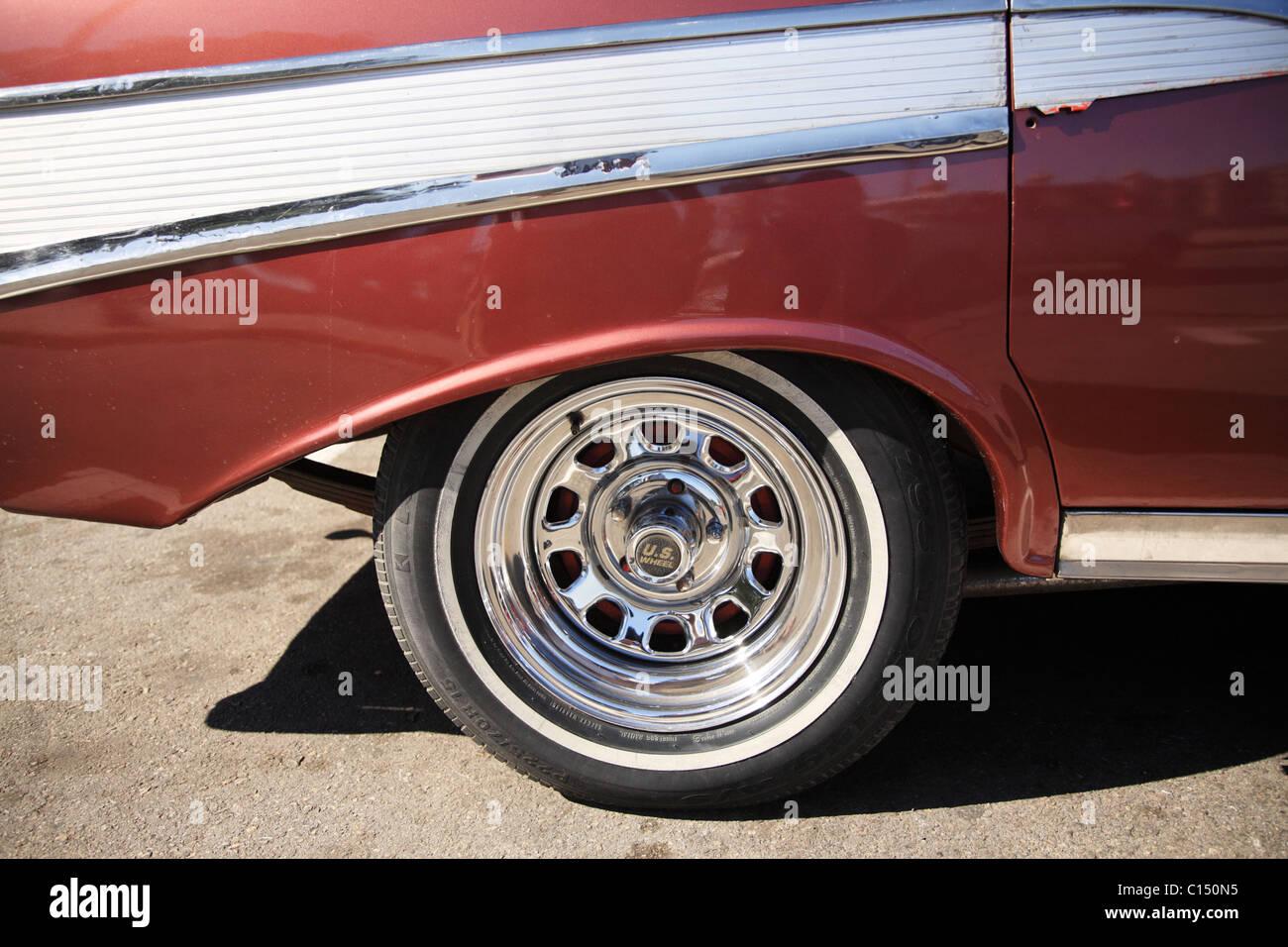 chrome wheel of an old american car in havana cuba