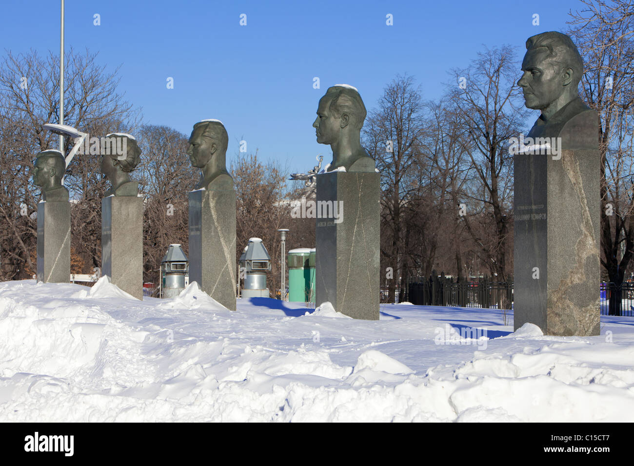 Soviet memorial dedicated to cosmonauts from kaliningrad - The Statues Of 5 Famous Soviet Cosmonauts At Cosmonauts Alley In Moscow Russia Stock