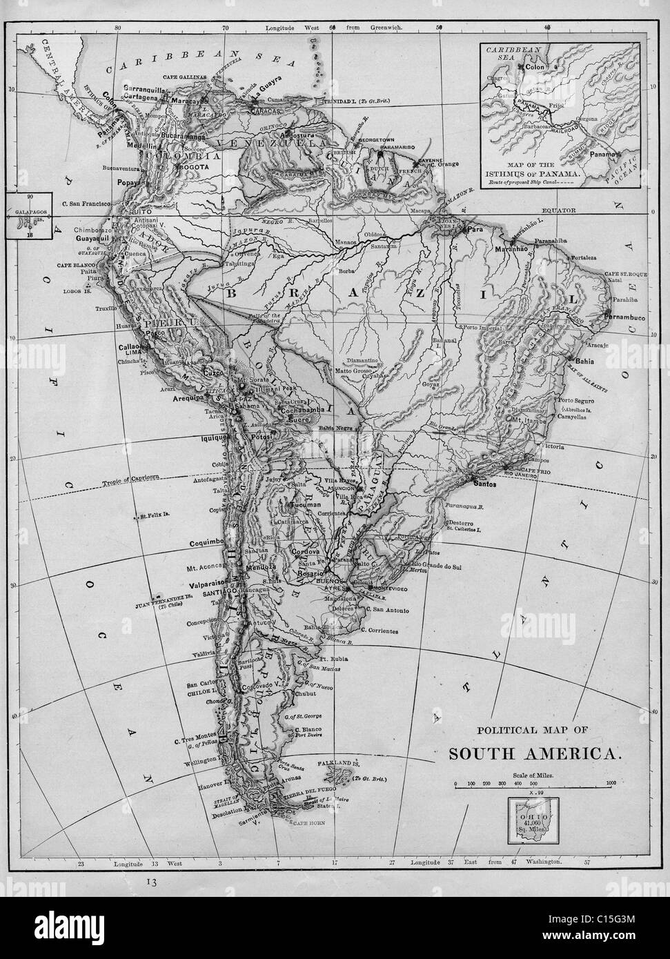 Old Map Of South America From Original Geography Textbook - Old maps of america
