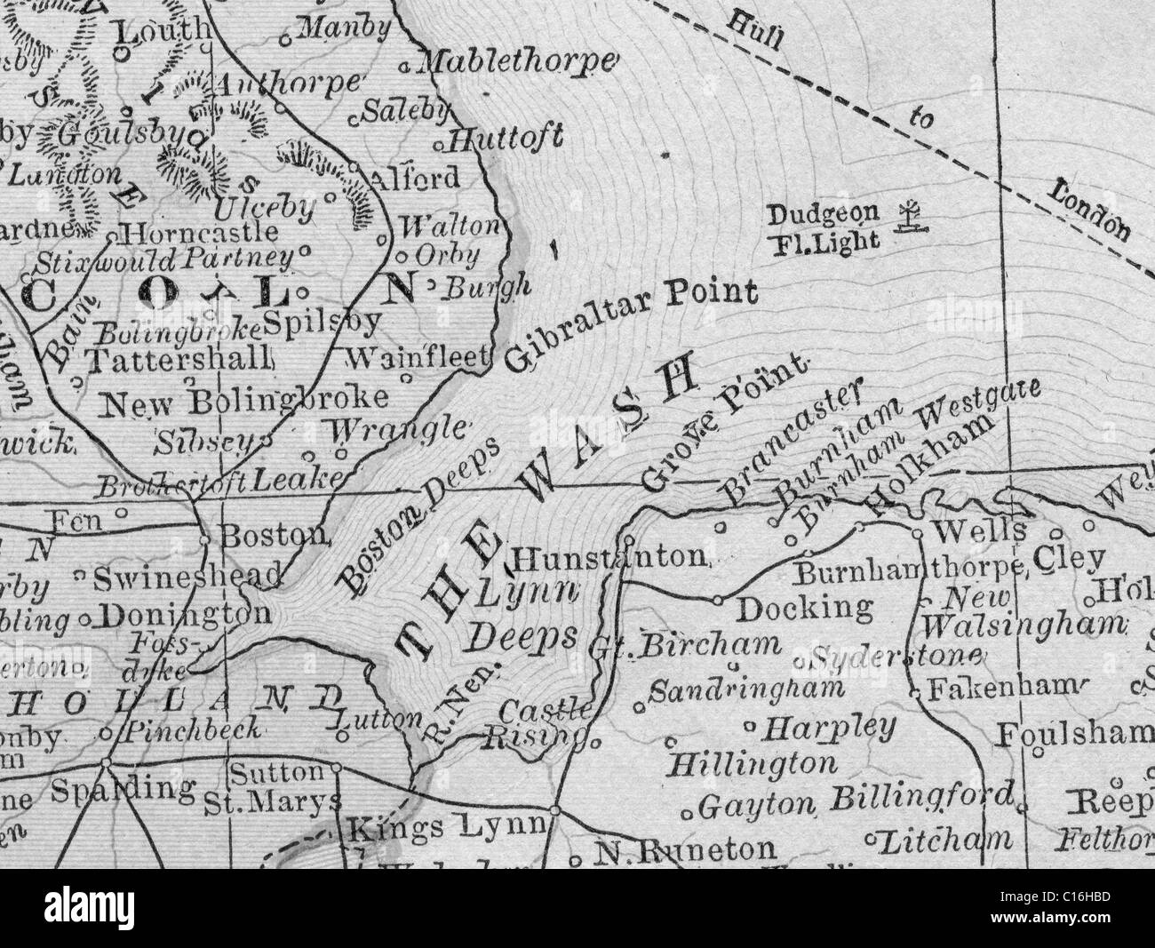 Old Map Of The Wash From Original Geography Textbook Stock - Wash map