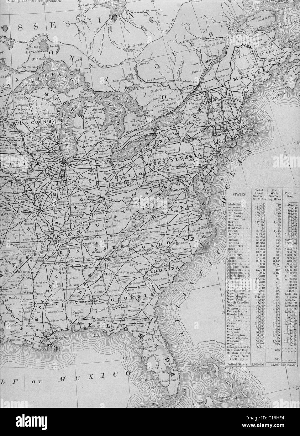 Old Map Of Eastern United States From Original Geography Textbook - Us map 1884