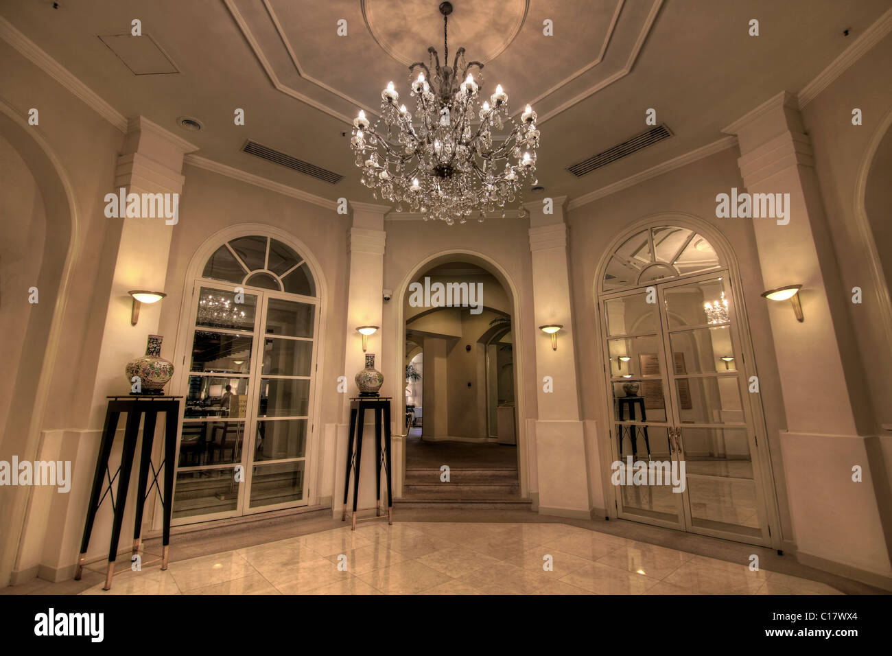 Grand lobby foyer with crystal chandelier stock photo 35209388 alamy grand lobby foyer with crystal chandelier aloadofball Images