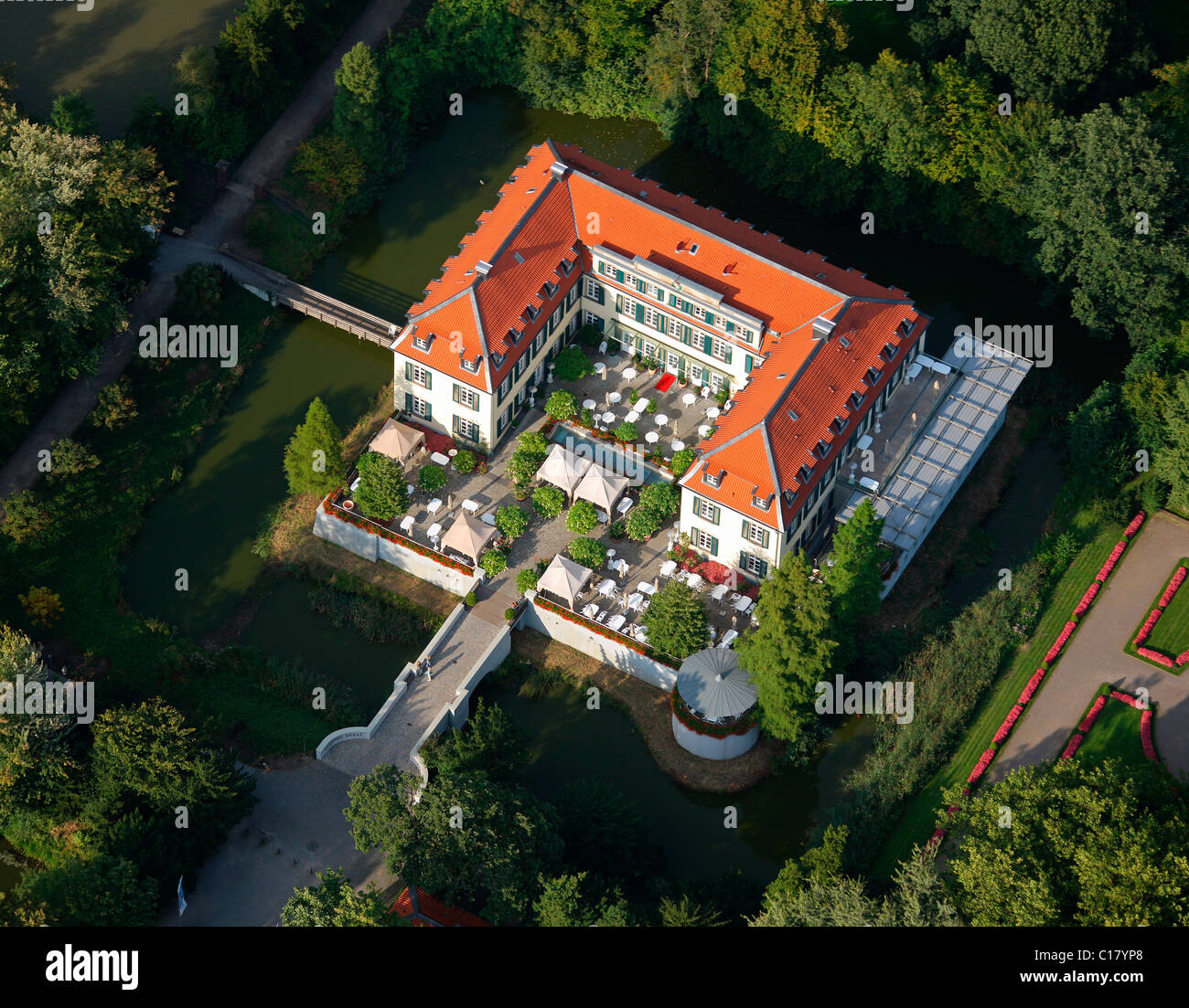 aerial photograph schloss berge castle with park and berger see stock photo royalty free. Black Bedroom Furniture Sets. Home Design Ideas