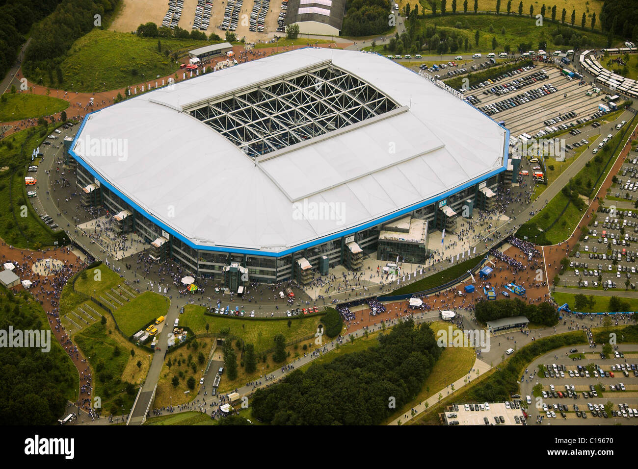 aerial photo arena auf schalke schalke arena veltins arena stock photo royalty free image. Black Bedroom Furniture Sets. Home Design Ideas
