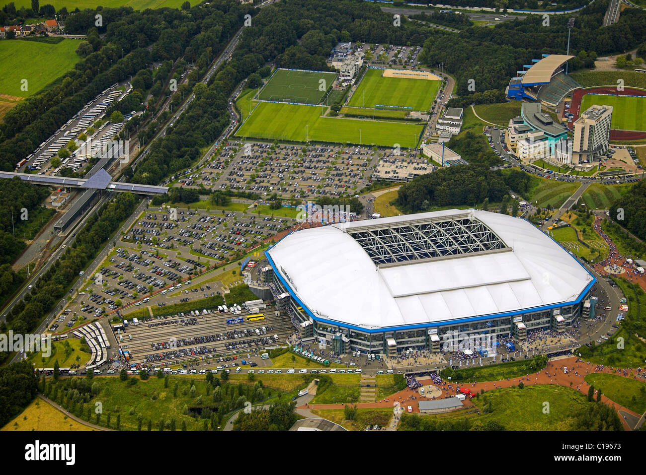 aerial photo parking area arena auf schalke schalke arena veltins stock photo royalty free. Black Bedroom Furniture Sets. Home Design Ideas