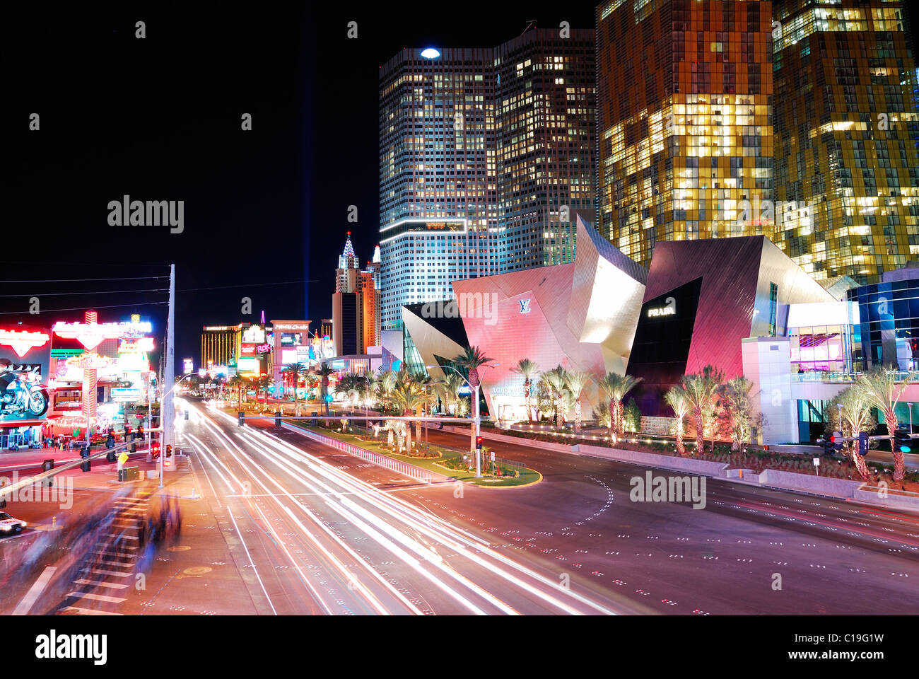 Luxury hotel in las vegas strip at night with traffic nevada