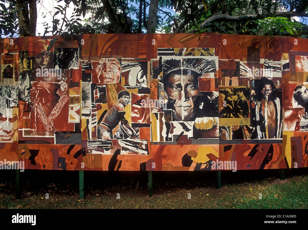 Mural Arawak Indian Culture Engraved Rocks Archaeological Park Town Of Trois Rivieres Guadeloupe France French West Indies