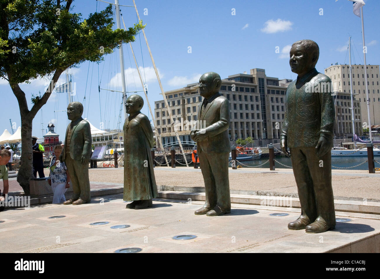 Statues of from far left to right ; Albert Luthuli, Desmond Tutu ...