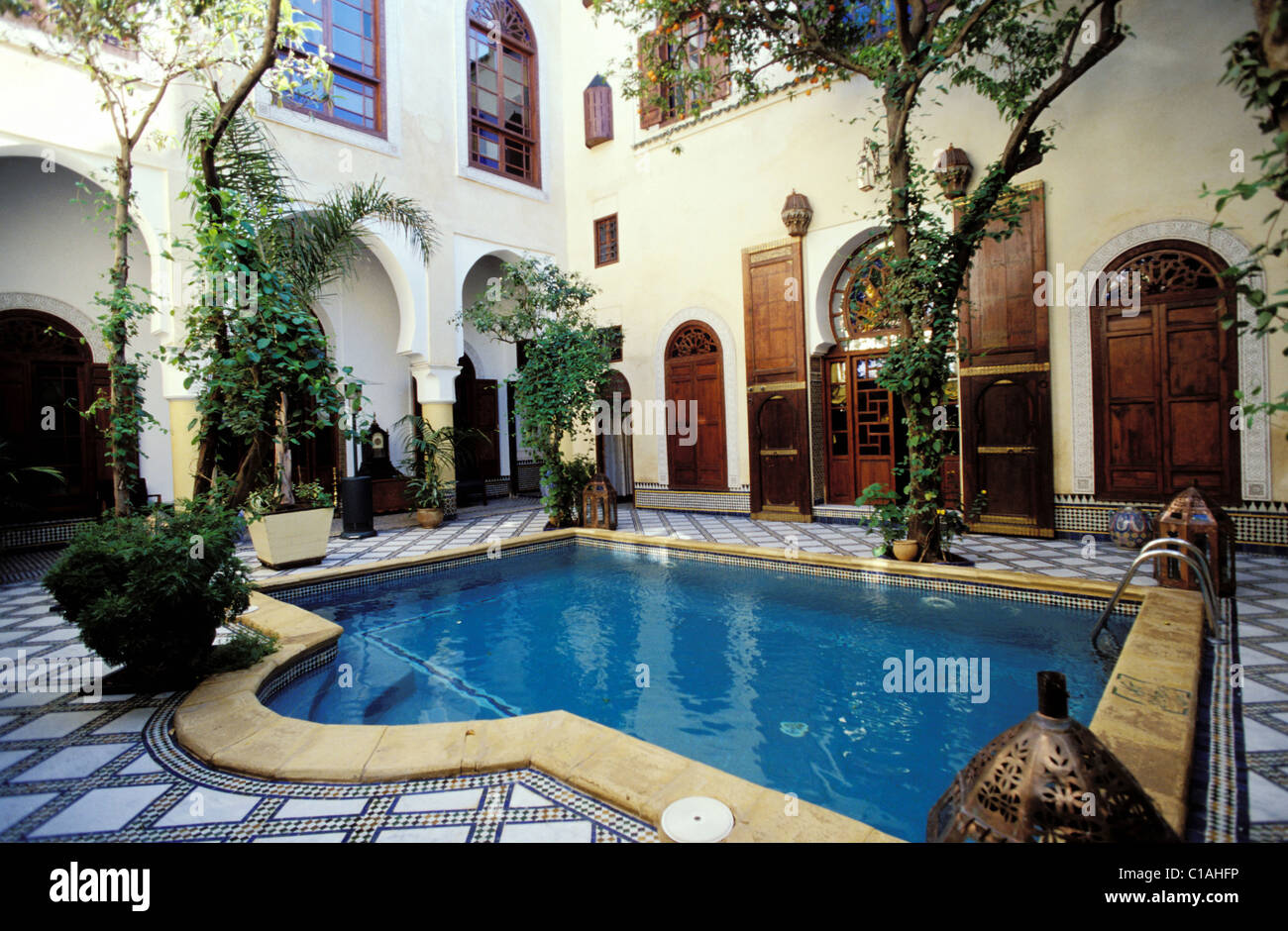 Morocco fes riad maison bleue the swimming pool in the patio stock photo royalty free image - Maison bleue mobel ...