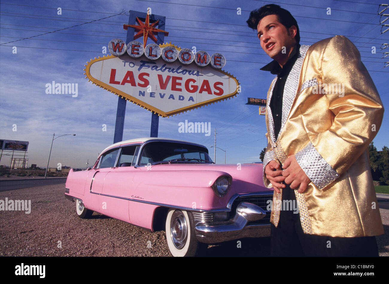 Cadillac Las Vegas >> United States Nevada Las Vegas An Elvis Presley Double In Front