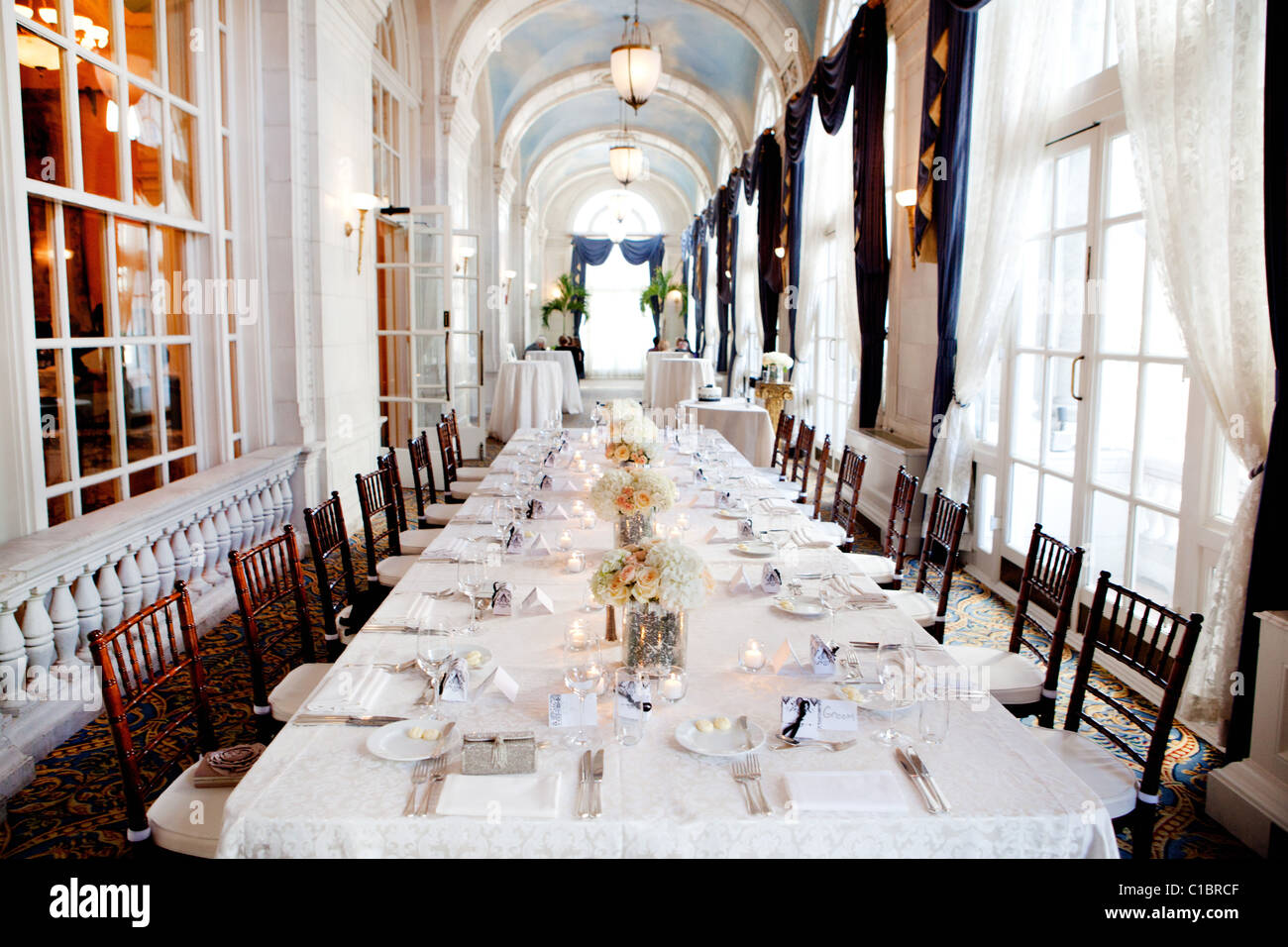 Stock Photo   WEDDING THE HERMITAGE HOTEL NASHVILLE TENNESSEE TN INTERIOR  ARCHITECTURE OLD CLASSY HOTEL DECORATED DECOR TABLE LINEN. Wedding The Hermitage Hotel Nashville Tennessee Tn Interior Stock
