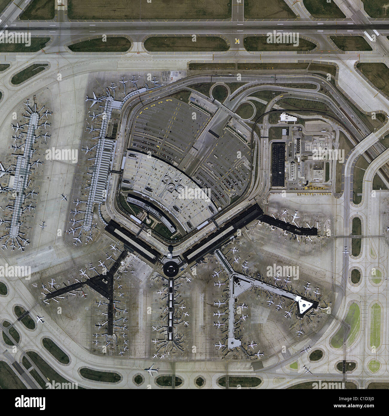 aerial map view above Chicago OHare International Airport