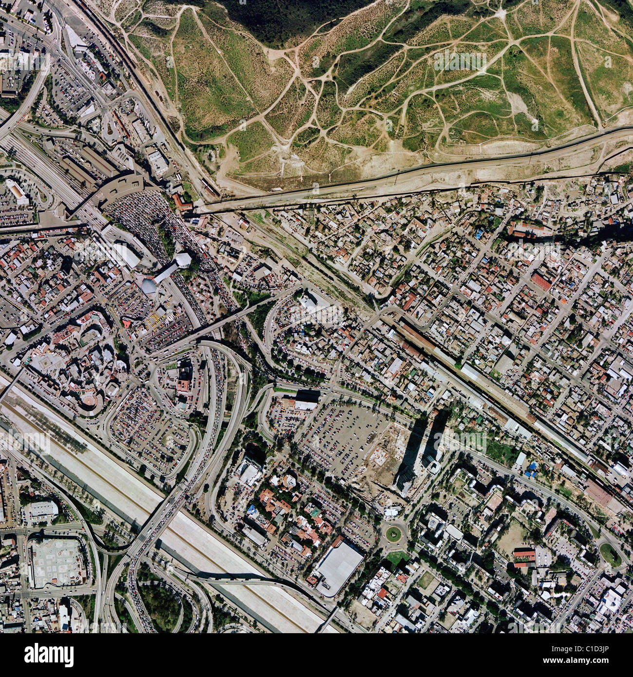 Aerial Map View Above Tijuana Mexico At San Ysidro Mexican - Aerial maps over mexican us border