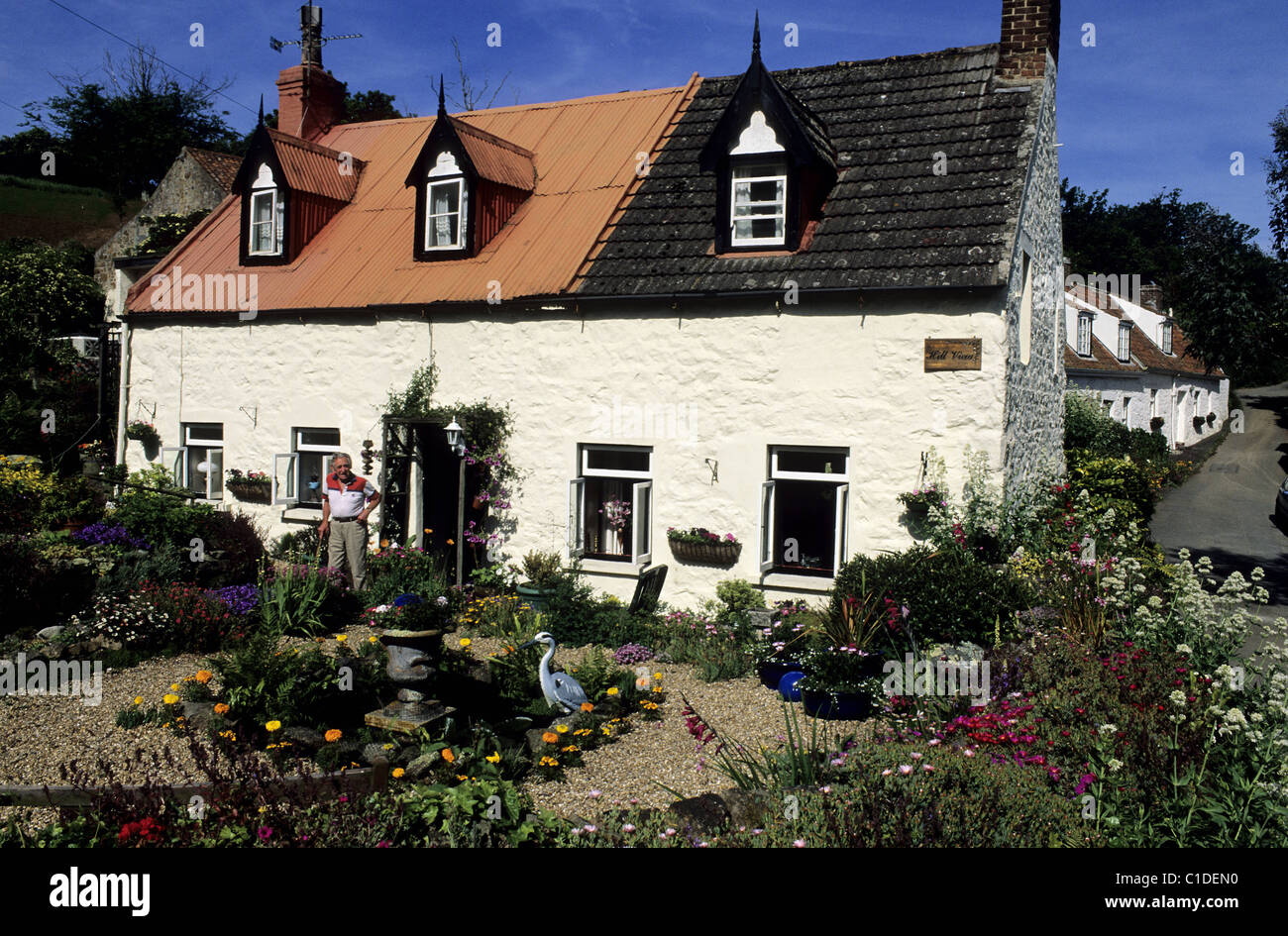 Guernsey United Kingdom  City new picture : United Kingdom, Channel Islands, Guernsey Island, Typical Cottage In ...