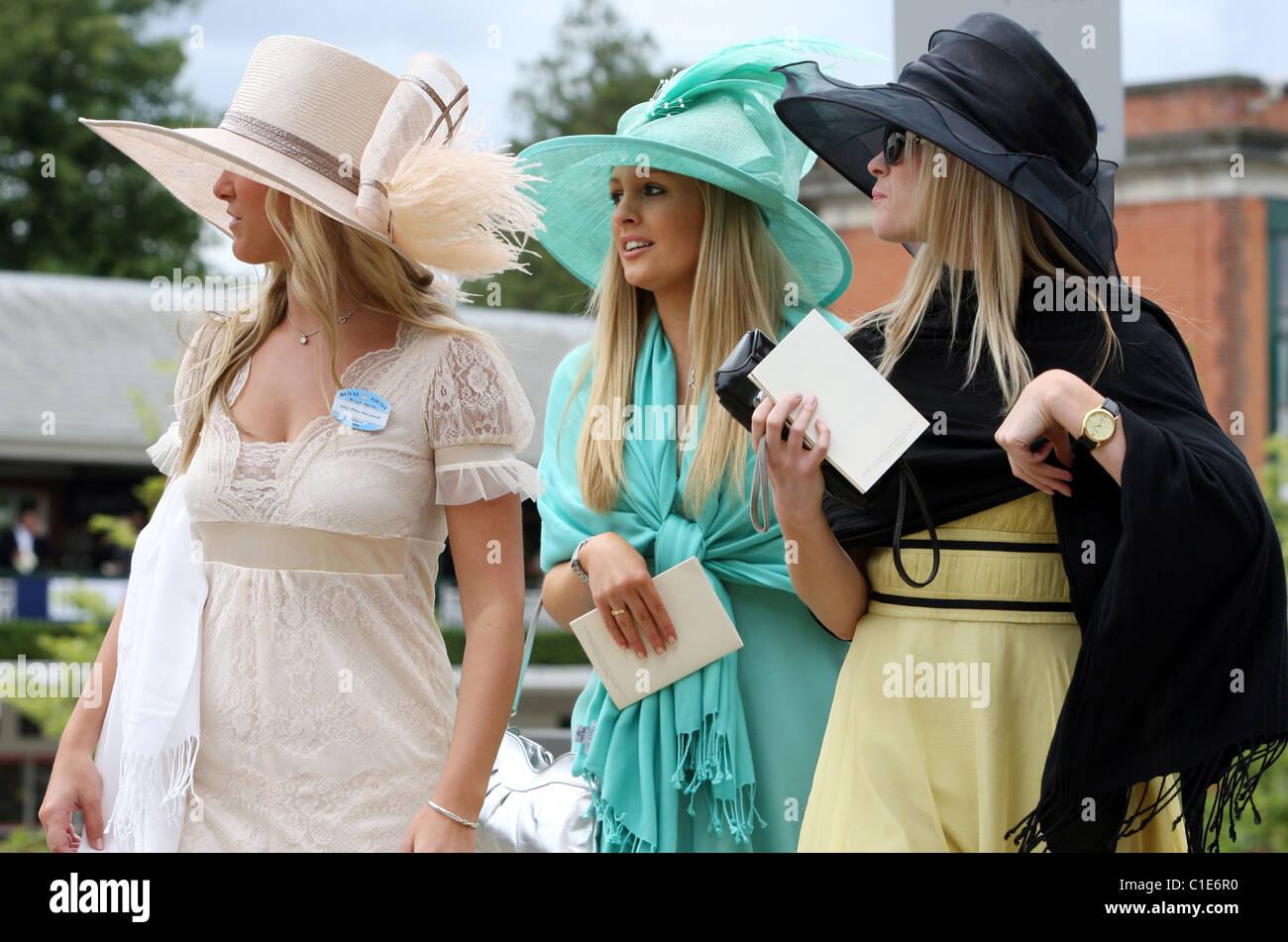 Ascot United Kingdom  City pictures : Elegantly Dressed Women In Hats, Ascot, United Kingdom Stock Photo ...