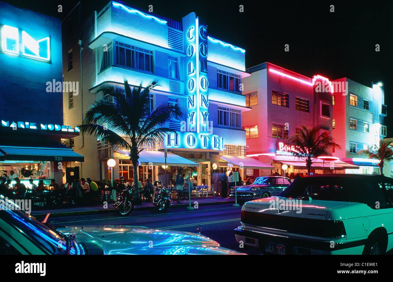 United States Florida Miami Beach The Art Deco District Ocean Drive At Night