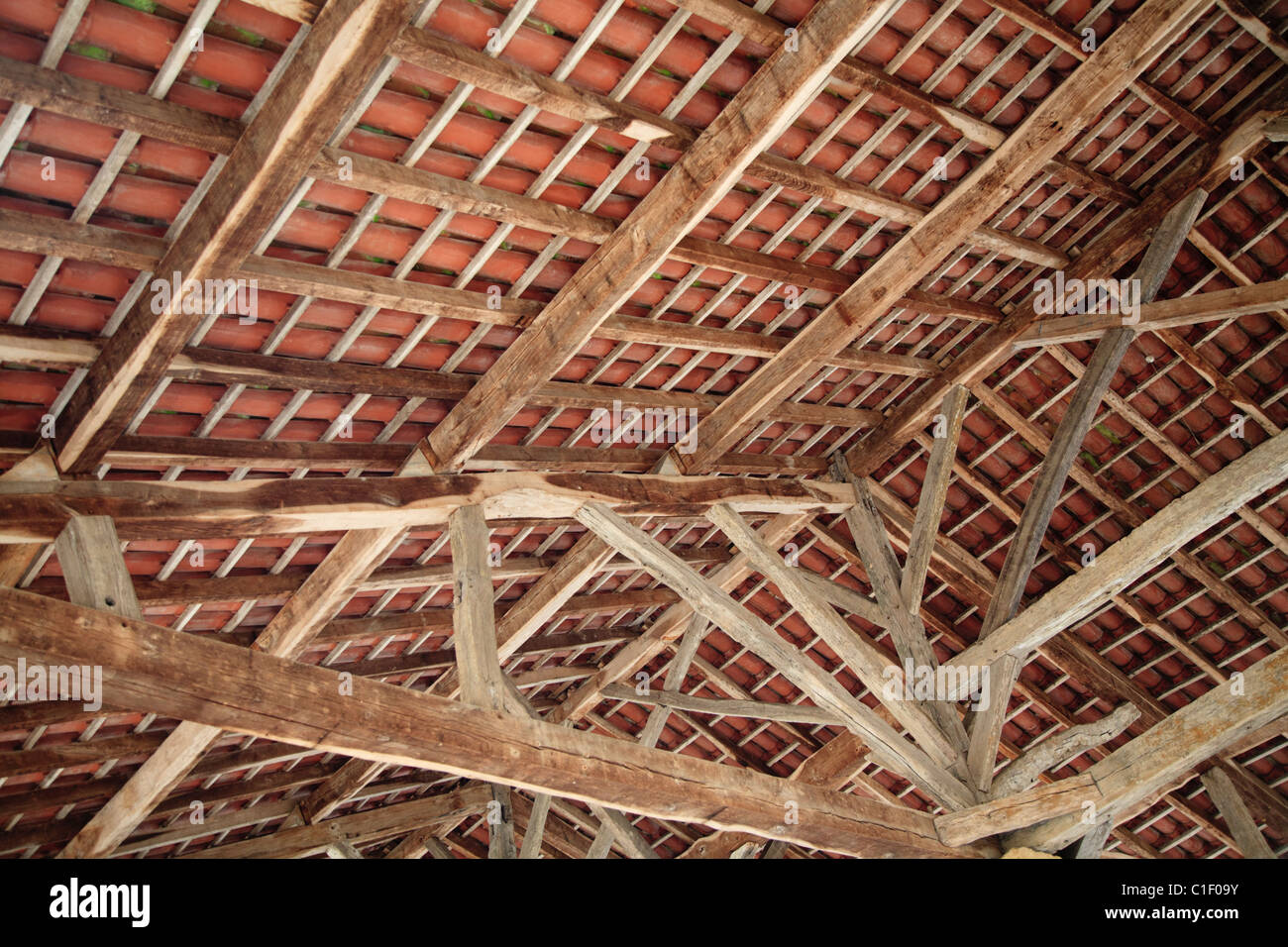 Beams And Rafters On The Underside Of The Roof Of The Covered Market At  Villefranche