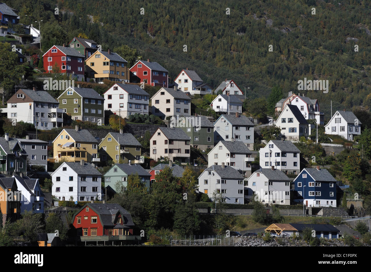 wooden houses in happy colours climbing on the slope above stock