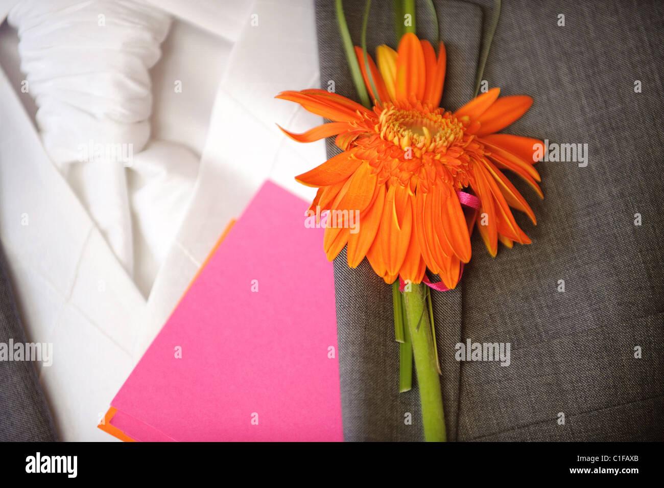 Mens Man Wedding Buttonhole Orange Flower Suit Jacket Collar