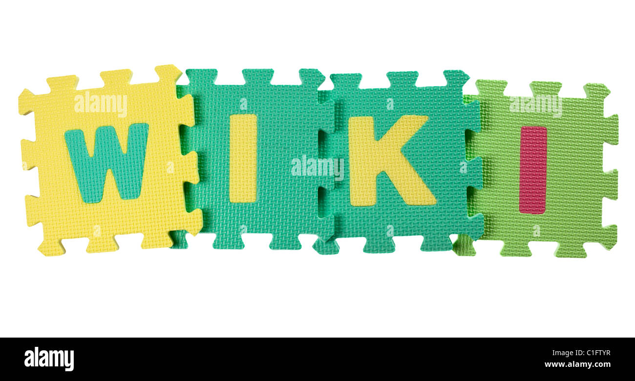 Alphabet blocks forming the word WIKI isolated on white background ...