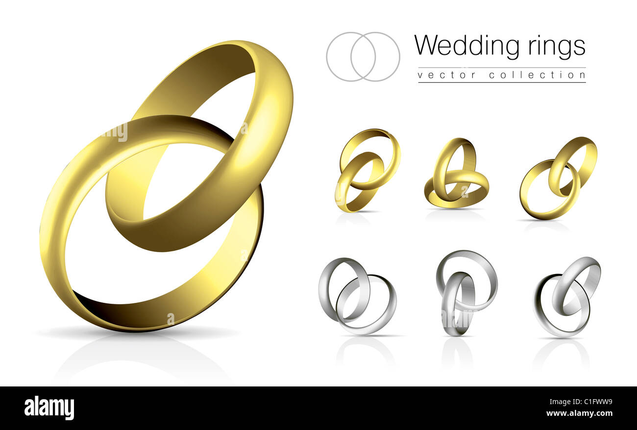 Wedding rings vector collection isolated on white background with