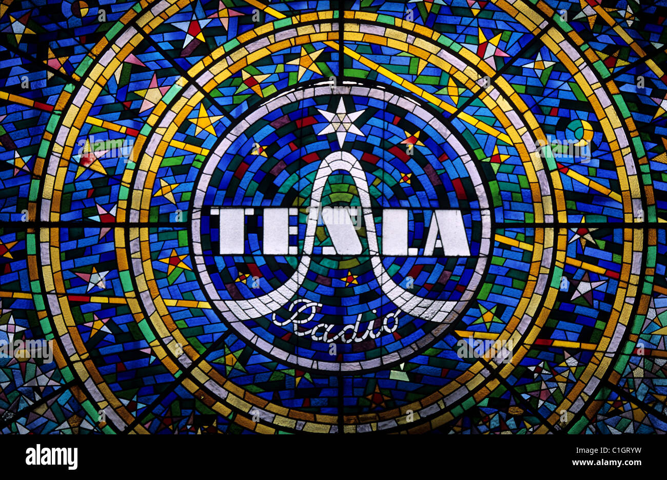 Czech republic prague art nouveau style stained glass with tesla czech republic prague art nouveau style stained glass with tesla radio advertisement buycottarizona Gallery