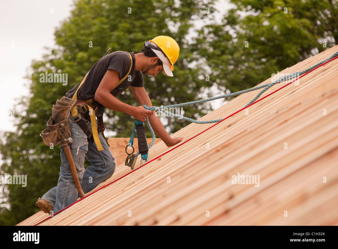 Carpenter using safety strap on the roof of a house under construction : roof carpenter - memphite.com