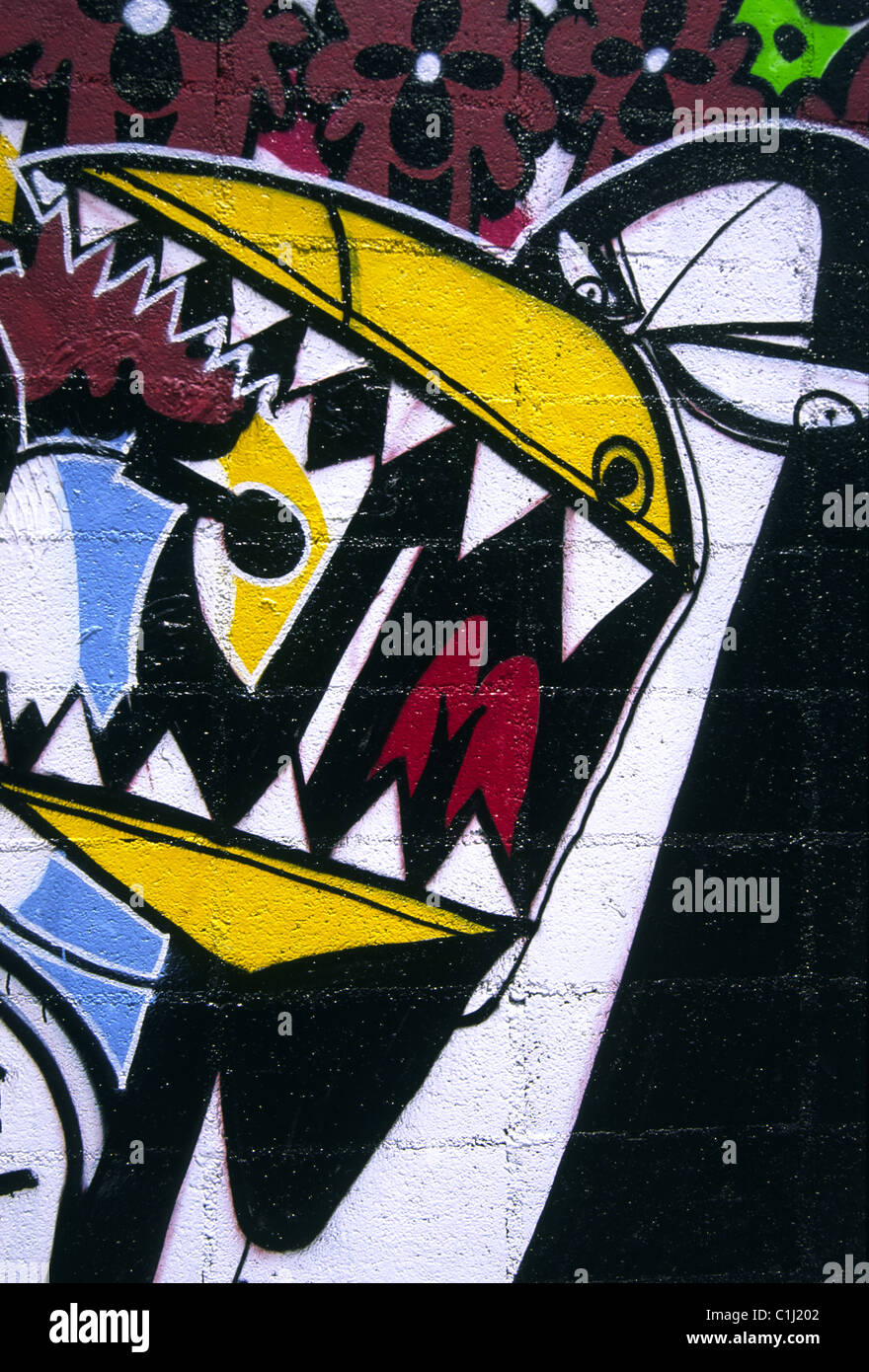 Graffiti wall barcelona - Cartoon Graffiti Image Of Crazy Looking Enraged Singing Penguin With Sharp Teeth Painted On Brick Wall Barcelona Spain