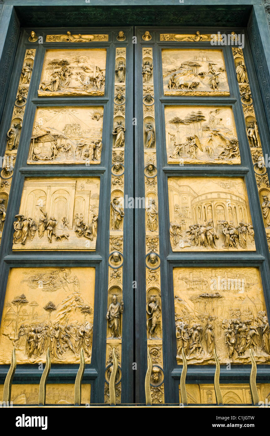 Florence Italy. The Battistero di San Giovanni with Bronze East Doors The Gates of Paradise (15c.) by Lorenzo Ghiberti. & Florence Italy. The Battistero di San Giovanni with Bronze East ... Pezcame.Com