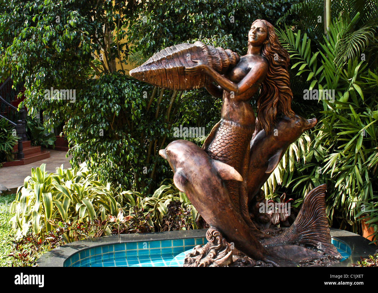 Nice Bronze Statues Of Dolphins With A Mermaid Holding Large Seashell Trapped In  A Pond Of Water As Part Of Garden Near Beach In Goa