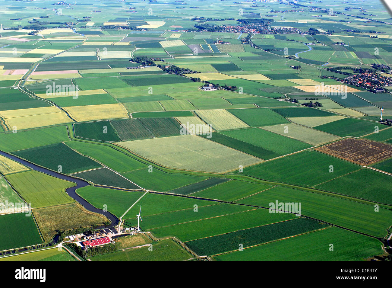 Netherlands northern holland fields and farm aerial Farm house netherlands
