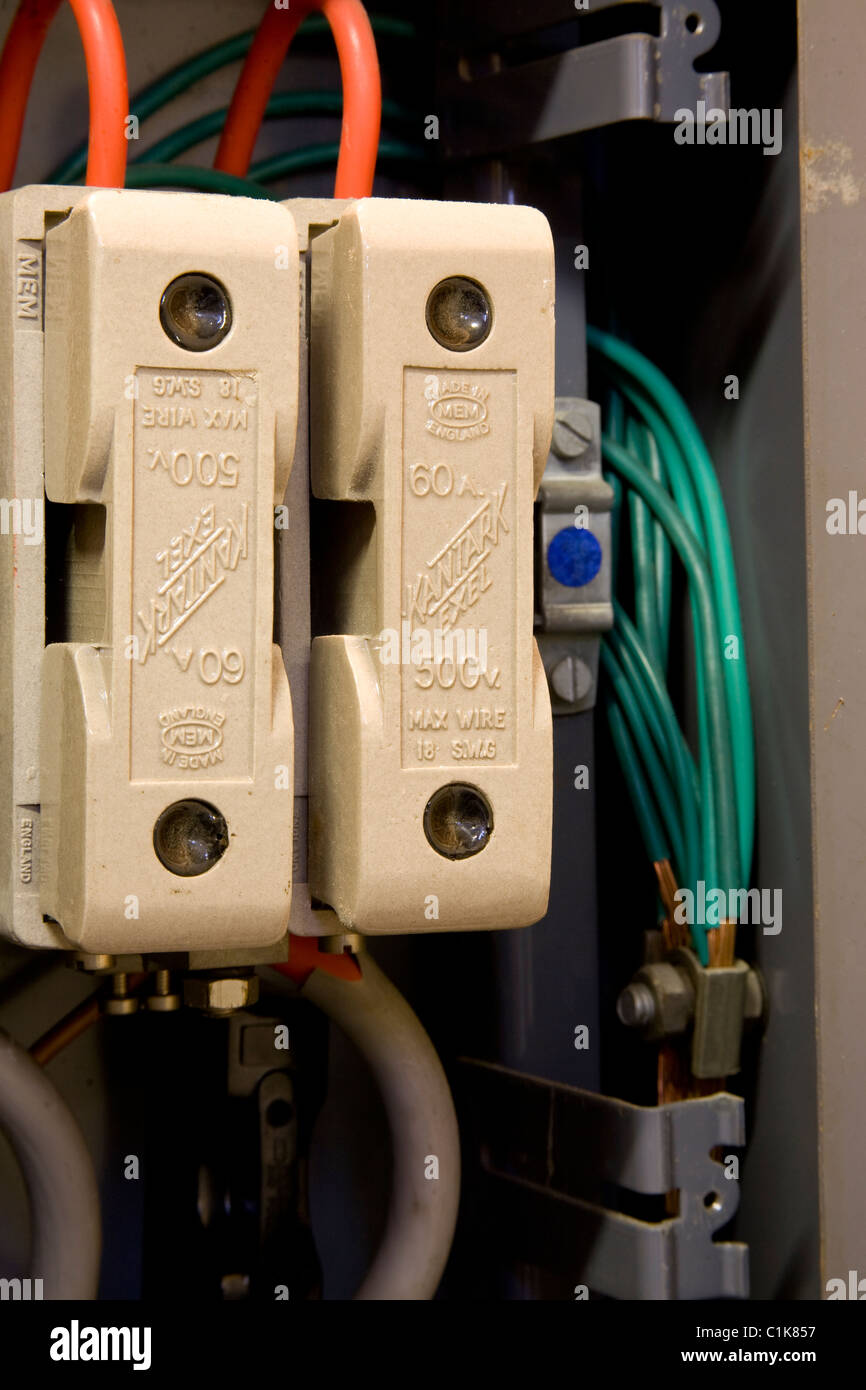 electricity mains fuse type ceramic domestic connectors fuse stock photo royalty free