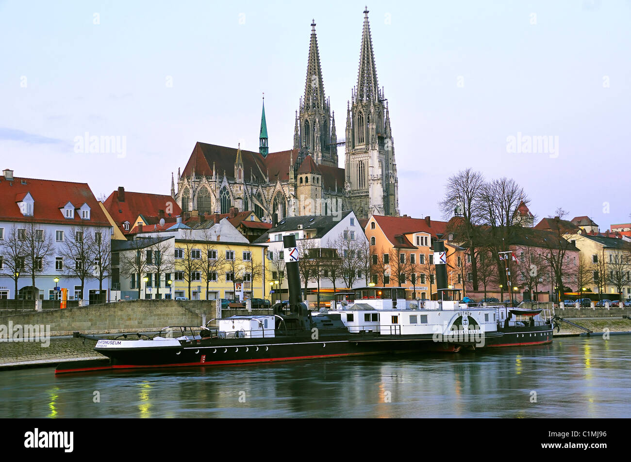 the dom cathedral in regensburg germany with the freudenau ship stock photo royalty free image. Black Bedroom Furniture Sets. Home Design Ideas