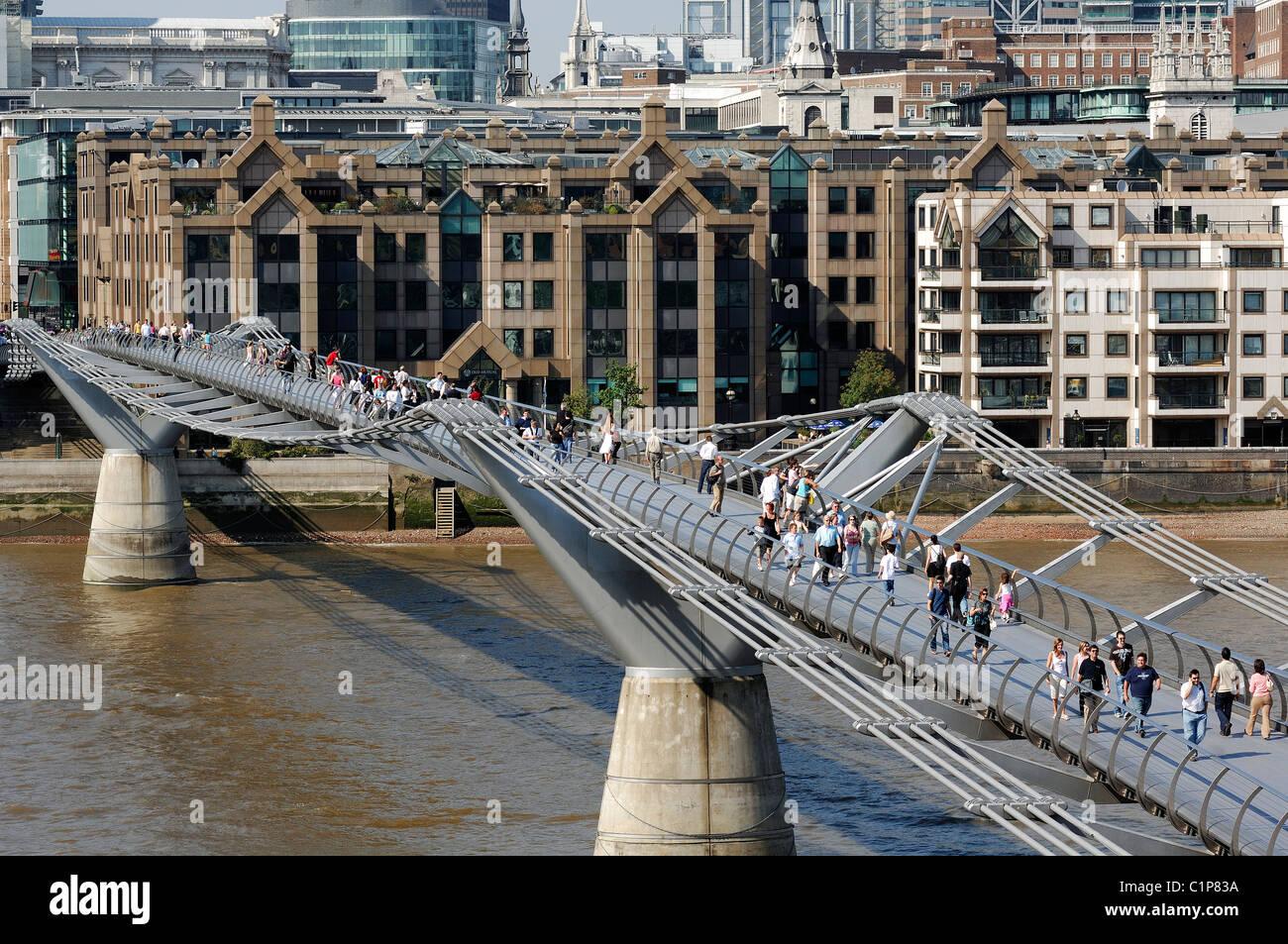 united kingdom london the city millenium bridge by norman foster stock image
