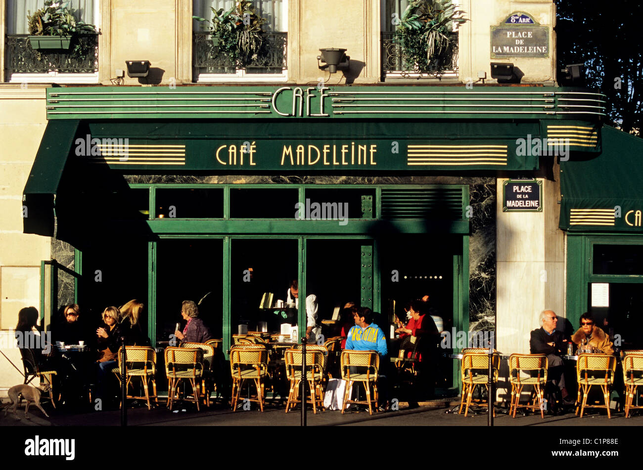 france paris place de la madeleine cafe madeleine stock photo royalty free image 35524846. Black Bedroom Furniture Sets. Home Design Ideas