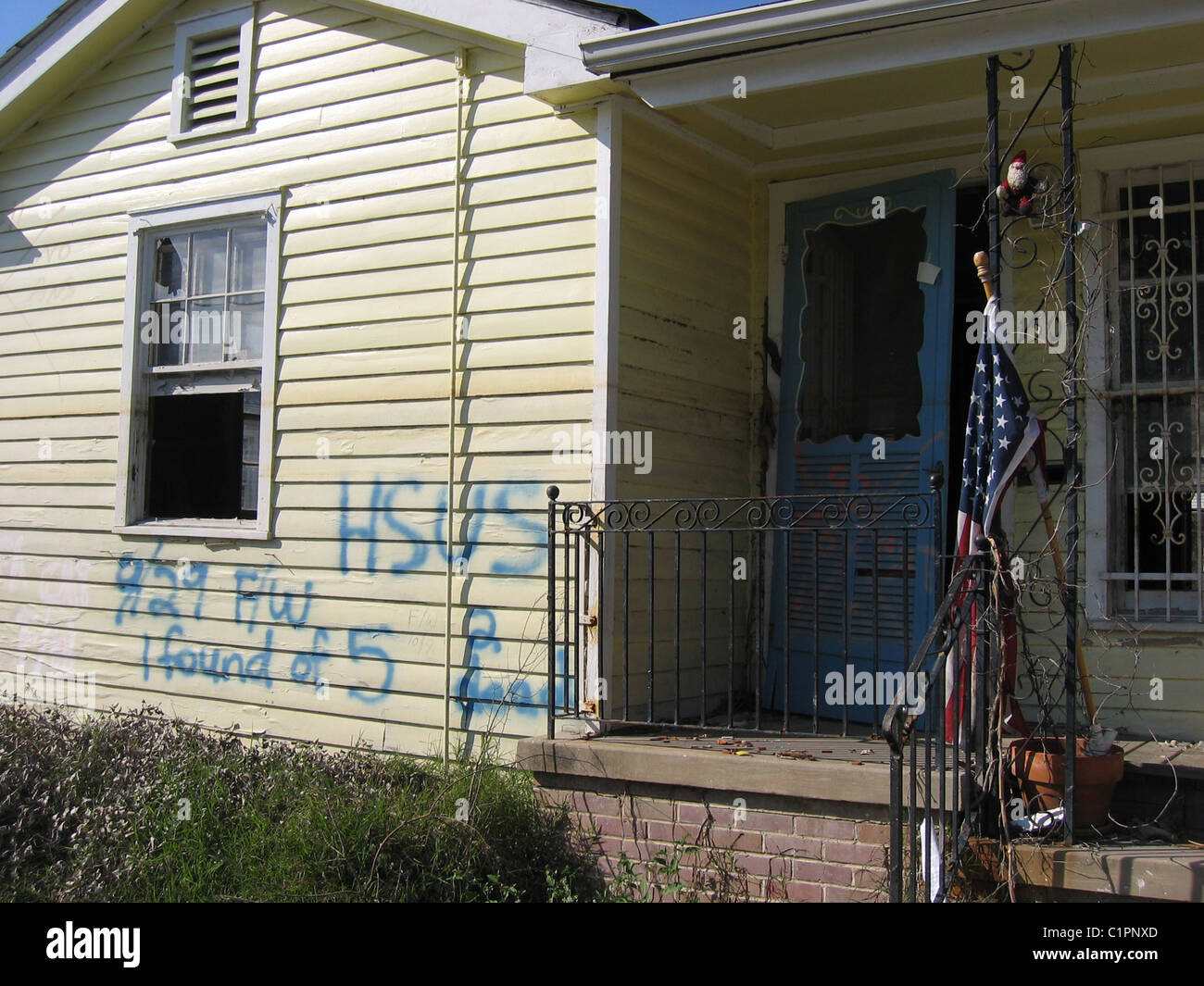 Post Hurricance Katrina. House Damaged By The Storm. Spray Paint Writing On  The Exterior Part 63