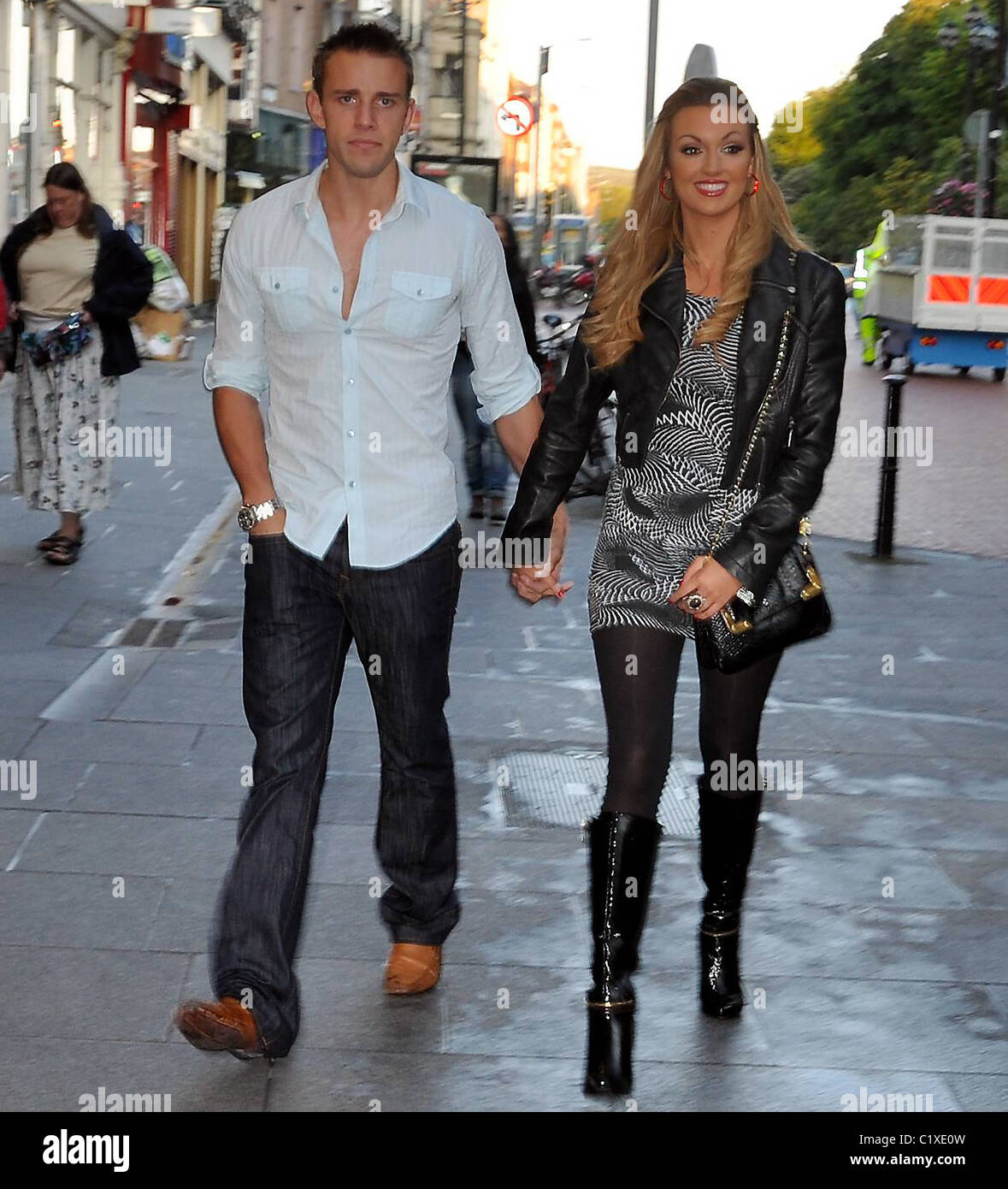 Former miss world rosanna davison reunited with her former former miss world rosanna davison reunited with her former boyfriend wesley quirke arrive at the gaiety theatre to watch her thecheapjerseys Images