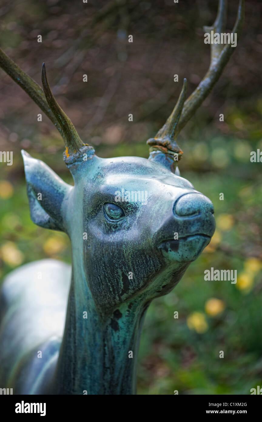 Bronze Stag, Deer Garden Statue At Batsford Arboretum, Gloucestershire,  England