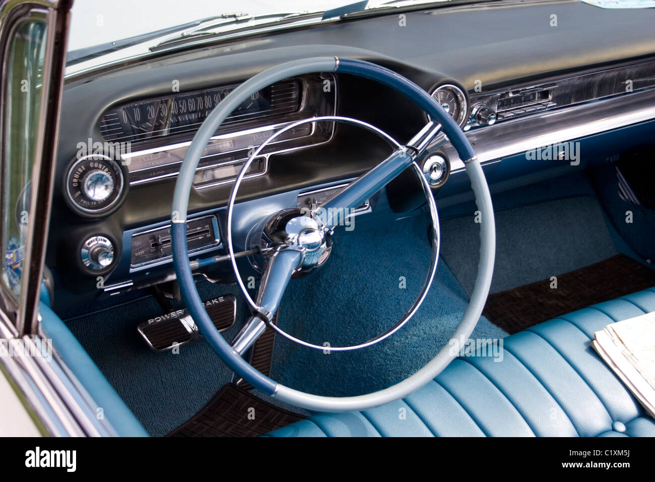 american car vehicle interior 50 39 s vintage blue wheel steering dash stock photo royalty free. Black Bedroom Furniture Sets. Home Design Ideas