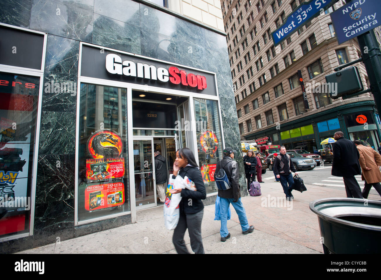 A gamestop video game store in the herald square shopping district in new york